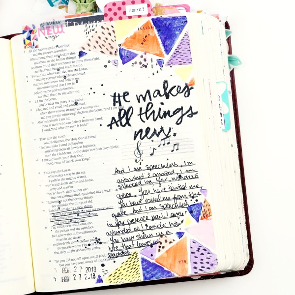 Bible journaling with the Illustrated Faith All Things New devotional kit from DaySpring #biblejournaling #faithart