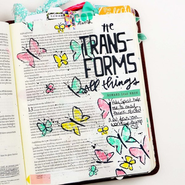 Bible journaling with the Illustrated Faith All Things New devotional kit from DaySpring #biblejournaling #faithart stamping watercolors scrapbook paper crafting