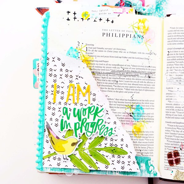 Bible journaling process using the new Illustrated Faith Fruit of the Spirit Collection #biblejournaling #faithart scrapbook paper crafting