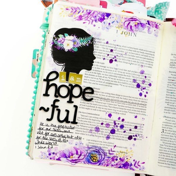 Lent Bible Journaling Process using printable stickers from TheHungry Jpeg. #biblejournaling #faithart