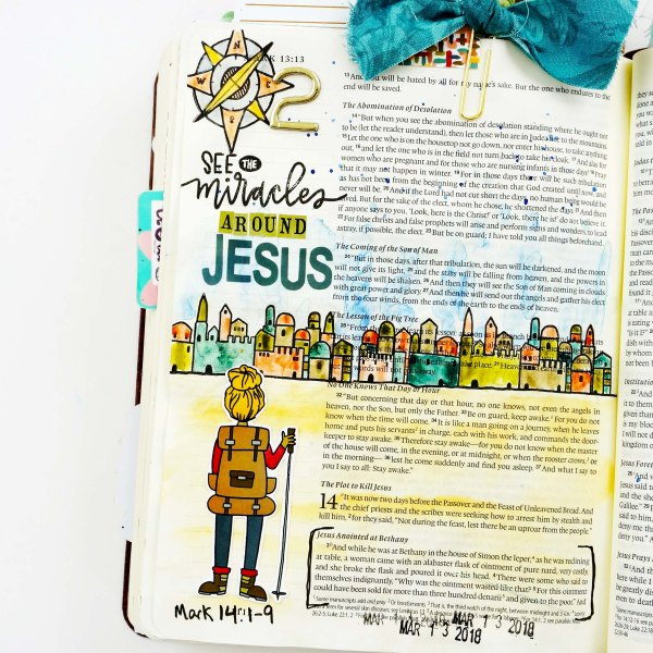 ByTheWell4God In Step: An Easter Journey Bible Journaling with stamps and watercolor