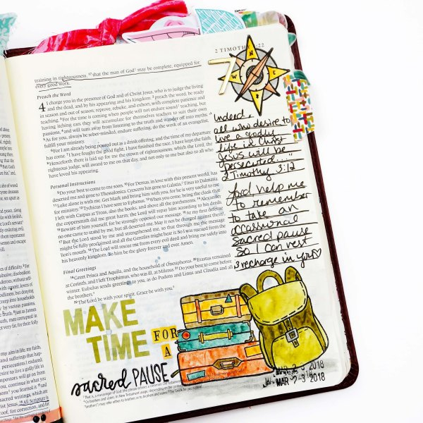 ByTheWell4God In Step: An Easter Journey Bible Journaling with stamp masking and watercolor