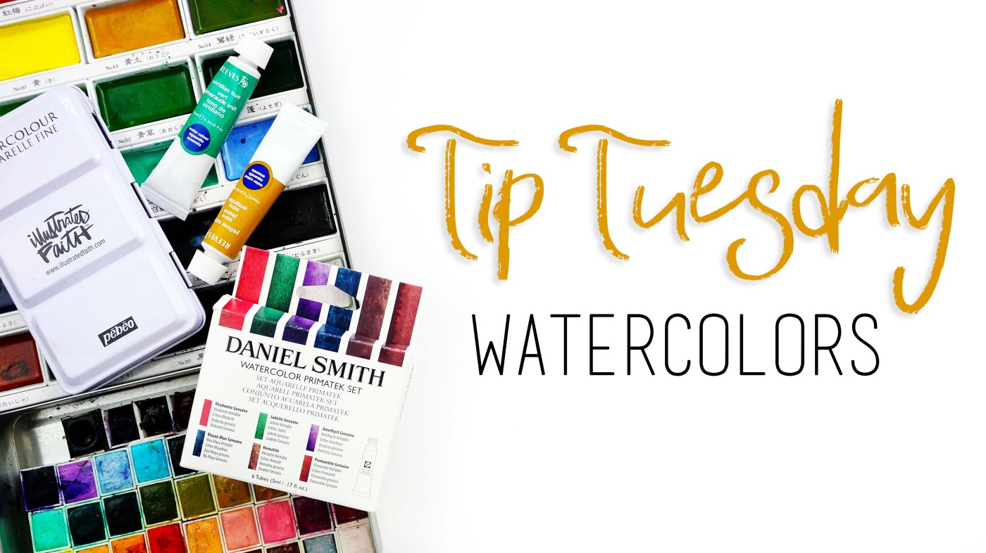 Tip Tuesday all about watercolors for Bible journaling including different kinds and tips and tricks for using them